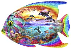 A fantasy jigsaw puzzle where land meets water. This is one of our NEW specially shaped wooden jigsaw puzzles. #FishPuzzle #Aquatic #ShapedPuzzle