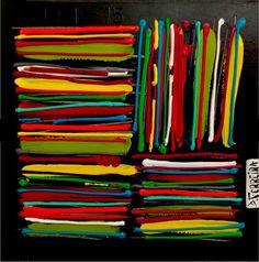 Crayonnade - 40 x 40 cm - Technique mixte sur toile - Pièce unique - Année 2013   Disponible chez Colorfield Gallery Fun!