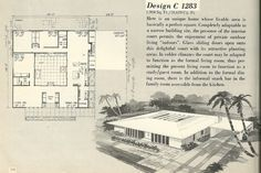 Vintage house plans, house plans, mid century house plans another cool MCM house. I used to dream of living in a house like this! Vintage House Plans, Modern House Plans, House Floor Plans, Modern Houses, Courtyard House Plans, Atrium House, Courtyard Pool, Modern Courtyard, Mcm House