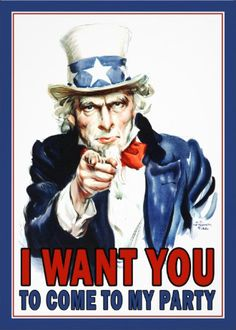 I WANT YOU to come to my party #4th_of_July_invites.