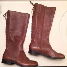 New [Jessica Simpson] lace up leather boots New, never used, and still with all tags. Genuine leather boots by Jessica Simpson- women's size 8. Lace up back and zipper on the inner side on each boot. Buy 3 or more items from my closet to get my seller discount added to your order at checkout! ☺️ Jessica Simpson Shoes Lace Up Boots
