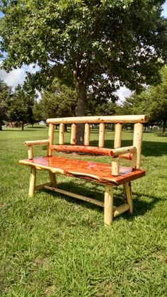 """Red cedar log bench. Made for my son in Tijeras, NM. Seat is 2 1/2"""" thick X 20"""" deep and 60"""" wide. Very comfortable and heavy."""