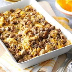 Mushroom Sausage Strata Recipe from Taste of Home -- shared by Julie Sterchi of Jackson, Missouri