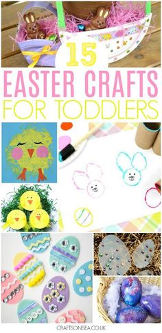 15 Easter Crafts for toddlers to make this spring! From Easter eggs to chicks, bunnies and more- great ways to have fun and work on fine motor skills! #EasterCrafts #Toddlers