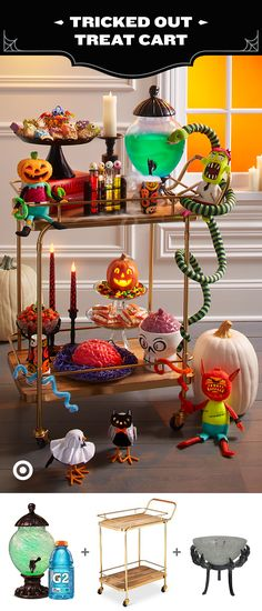 Plus-up your trick-or-treat buffet with this tricked-out treat cart.