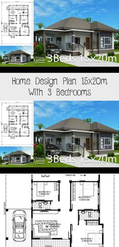 Home design plan with 3 Bedrooms - Home Design with Plansearch House Plans South Africa, A Frame House Plans, 3 Bedroom House, Car Parking, Laundry Room, Bedrooms, Floor Plans, Backyard, House Design