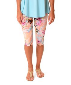 Another great find on #zulily! Peach & Blue Floral Capri Leggings #zulilyfinds