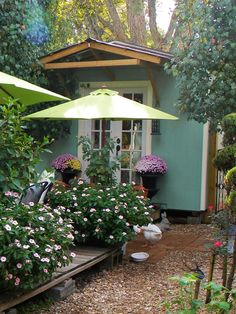 Love the garden shed, and especially the umbrella's for shading the plants.  Love it!