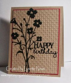 "handmde card from My Stamping Addiction: ""Embedded"" Die Cut Flowers .... kraft base with black die cut flowers and sentiment words ... embossed into one layer with the small trellis embossing folder ... great texture ..."