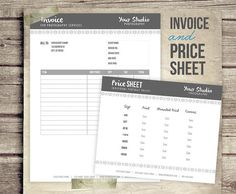 Invoice & Price Sheet Photography Business Form - Contract Form for Photographers - Price List Invoice Template Pricing - INSTANT DOWNLOAD