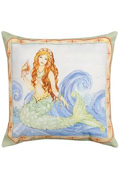 A magical mermaid listening to the ocean from a conch shell sits on top of waves of blue and is framed with a beautiful decorative border. Printed from a watercolor painting by artist Sally Eckman Roberts this pillow is made of weather-proof fade resistant 100% polyester fabric perfect for both indoors and out. Same image on both front and back. For indoor or outdoor use.  Measures 18 x 18 inches.  Mermaid Pillow by Manual Woodworkers and Weavers. Home & Gifts - Home Decor - Pillows & Throws…