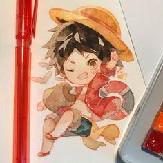 One Piece Fanart, One Piece Anime, One Piece Series, Anime Pixel Art, Cute Art Styles, Watercolor Background, Chibi, Kawaii, Fan Art