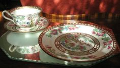 Antique / Harrods : A large Indian Tree Trio - Cup Saucer Plate - hand coloured