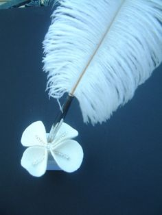 Feather Pen and Stand Ivory Silver White by ArtisanFeltStudio, $21.00