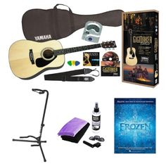 Yamaha Gigmaker Deluxe Acoustic Guitar Package with Guitar Stand, Universal Guitar Care Kit and Frozen: Music Book from the Motion Picture - Sun Deals Guitar Gifts, Guitar Tuners, Guitar Stand, Cool Guitar, Acoustic Guitar, Yamaha, Frozen, Packaging, Kit