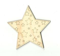 Star with Stars Unfinished Laser Cut Wood Shape SKY10