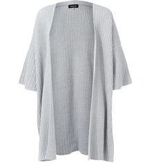 Eskandar Light Grey Kimono Sleeve Open Cardigan (1 095 AUD) ❤ liked on Polyvore featuring tops, cardigans, light gray cardigan, eskandar, open cardigan, merino cardigan and kimono sleeve cardigan