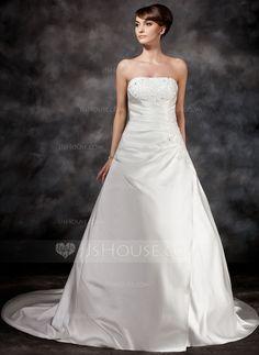A-Line/Princess Strapless Court Train Satin Wedding Dress With Ruffle Beading (002017113)