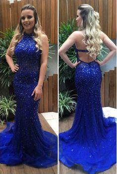 Royal Blue Evening Dress, Mermaid Evening Dress, Rhinestones #prom #promdress #dress #eveningdress #evening #fashion #love #shopping #art #dress #women #mermaid #SEXY #SexyGirl #PromDresses