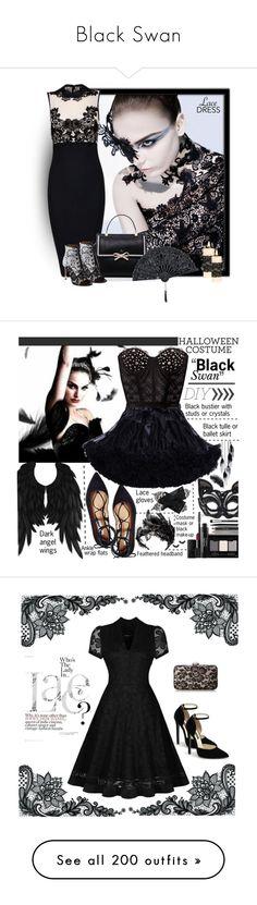 """Black Swan"" by yours-styling-best-friend ❤ liked on Polyvore featuring black, dress, LittleBlackDress, LBD, blackswan, MAC Cosmetics, Posh Girl, Kate Spade, lacedress and Steve Madden"