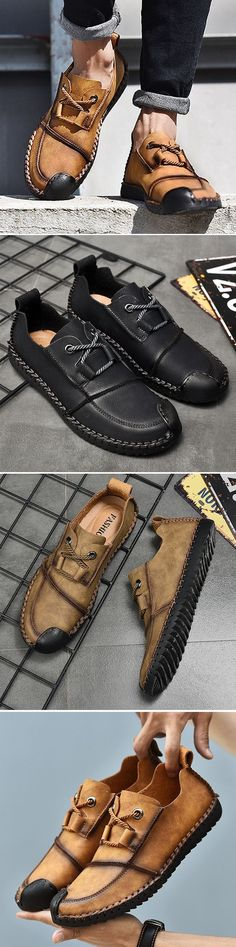 new product a4b52 423e4 US 36.65 Men s Vintage Cap Toe Hand Stitching Stylish Flat Slip On Casual  Shoes Mocasines,