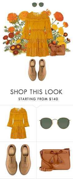 """Blooming Marigold"" by iamgabriella ❤ liked on Polyvore featuring Cinq à Sept, Ray-Ban, Dr. Martens and Kate Spade"