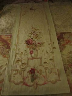 Stunning French Floral Roses Aubusson Tapestry/carpet/rug wall hanging