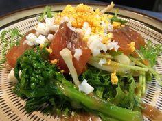 燻し鮭と菜の花のミモザサラダ