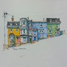Peter Sheeler -  A Pen and Wash Watercolor of brightly coloured row houses known locally as Jelly Bean Row. Perched on the hills overlooking the St John's, Newfoundland harbour.