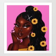 chocolate x sunflower Art Print by foreverestherr Art Black Love, Black Girl Art, Black Girl Magic, Art Girl, Black Art Painting, Black Artwork, Drawings Of Black Girls, Black Girl Cartoon, Black Art Pictures