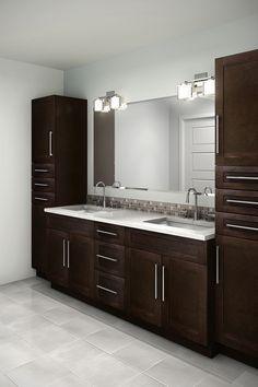 A birch shaker door stained in a beautiful chocolate. EuroRite Cabinets - Available at Yorkton Building Supplies. Bathroom Design Luxury, Bathroom Design Small, Modern Bathroom, Master Bathroom, Paris Bathroom, Bathroom Designs, Birch Kitchen Cabinets, Toilette Design, Washbasin Design