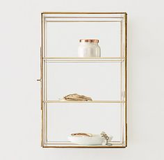 RH TEEN's Mirrored Glass Wall-Mount Curio Case:Clear as day. Showcase trinkets and treasures with our glass jewelry cases. Featuring an elegant… Glass Shelf Brackets, Glass Wall Shelves, Glass Shelves Kitchen, Mounting Brackets, Wall Display Case, Display Shelves, Display Cabinets, Shelving, Glass Boxes