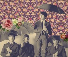 four fab umbrellas - beatles art - collage