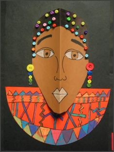 African mask template print in landscape for adult size for Mexican arts and crafts for sale