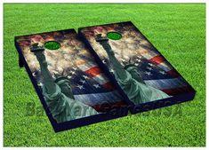 VINYL WRAPS Cornhole Boards DECALs USA New York Fireworks Bag