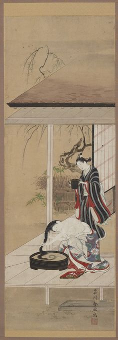 Woman washing her hair with an attendant | Katsukawa Shunsui (fl.1744-1764) | Ink and color on paper | Japan | Edo period | mid-18th century | Gift of Charles Lang Freer | Freer Gallery of Art and Arthur M. Sackler Gallery | F1898.109