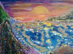 Amanecer. Homenaje a San Jorge, al que vence los miedos.  Óleo y acrílico lienzo (61x46)