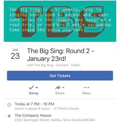 SING-A-LONG ALERRT ... TODAY at @thecompanyhouse  From @halifaxfringe  Mark it in your #ical - The Big Sing is back for Round 2 at @thecompanyhouse !!! Be sure to show up early - max capacity is 150 people. This event is all-ages (with a guardian) until 9pm.  Song to be announced on January 19th!  What: The Big Sing is a bi-weekly no-commitment drop-in singing event open to anyone who likes to sing arias in the shower pop songs on a road trip or rock'n roll while vacuuming. Each session…