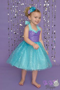 Ariel sequin sparkle dress by SoSoHippo on Etsy Mermaid Dresses, Flower Girl Dresses, Little Mermaid Parties, Frocks For Girls, Mermaid Birthday, Birthday Dresses, Kids Outfits, Disney, Etsy