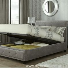 Sturdy and stylish ottoman bed. Features curved headboard with button detailing. Available in a quality steel colour fabric. Sizes: Double x King Size x or Super King x Manufactured by Serene. Ottoman Storage Bed, Ottoman Bed, Fabric Ottoman, Upholstered Ottoman, Bed Storage, Bed Centre, Bed Frames For Sale, Headboard Designs, Wood Headboard