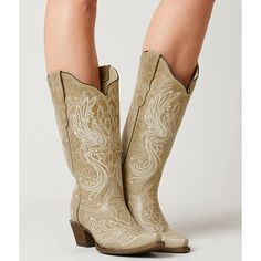 Corral Embroidered Cowboy Boot - Khaki/Cream US 10 ($213) ❤ liked on Polyvore featuring shoes, boots, embroidered cowboy boots, western boots, embroidered boots, embroidered western boots and tall boots
