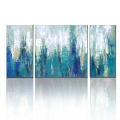AmazonSmile: cubism- Canvas Print 3 Panel Blue Abstract Modern Wall Art for Home Decoration, Ready to Hang!: Posters & Prints