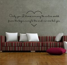 """Wall Decal Quote Text Vinyl Sticker Home Decor  Art Mural """" Only you ..."""""""