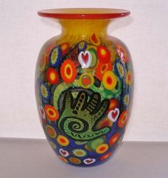 Mind Blowing MILLEFIORI Dichroic HANDS Heart Murrines SIGNED Mad Art Glass VASE
