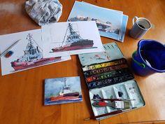 Workshop, Watercolor, Rostock, Baltic Sea, Pen And Wash, Atelier, Watercolor Painting, Work Shop Garage, Watercolour