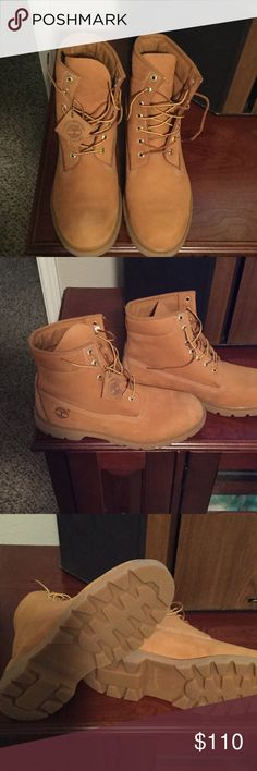 Men Timberland Boots Men Timberland boots are like new condition!! They were worn twice and are in Excellent condition!! The color is Tan Timberland Shoes Boots