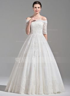 [US$ 359.99] Ball-Gown Off-the-Shoulder Floor-Length Tulle Wedding Dress With Ruffle Beading Sequins