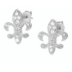 Tressa Sterling Silver CZ Fleur de Lis Earrings