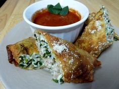 Italian eggrolls - we've made these for years but instead of frying, lightly brown the eggrolls in olive oil then bake on wire rack at 400 for 15 min.