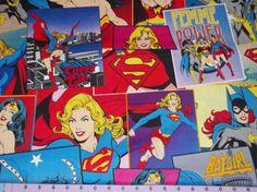 Girl Power Wonder Woman Super Girl Batgirl Comic Book Fabric 1 Yard Rare and OOP by CutiePieCraftSupply on Etsy Comic Book Panels, Comic Book Covers, Comic Books, Batgirl, Supergirl, When I Grow Up, Girl Power, Girly Things, Alice In Wonderland
